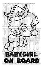 Cute Princess Peach baby girl on board super mario kart decal vinyl sticker sign