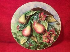 Antique French Majolica Palissy Pears & Flowers Wall Plaque, fm1093