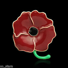 Gold Red Poppy Flower Brooch Crystal Diamante Pin Badge Remembrance Gift 09A