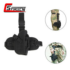 Military Tactical Molle Drop Leg Bag Pistol Pouch Holster Black for Right Hand