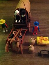 PLAYMOBIL - HORSE DRAWN WAGGON -WESTERN COVER WAGON - COWBOY - FRONTIER SETTLERS