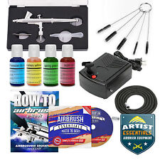 Cake Decorating Airbrush Kit Gravity Feed Gun Air Compressor - 4 Color Set
