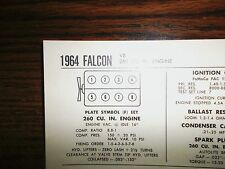1964 Ford Falcon Series Models 260 CI V8 SUN Tune Up Chart Sheet Great Shape!
