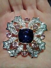 "Kenneth Jay Lane KJL Signed Pave Crystal Maltese Cross Pin Brooch 2"" Stunning"