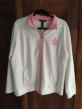 Lauren by Ralph Lauren ladies sweatshirt/jacket White Pink SZ 2X may fit 1X