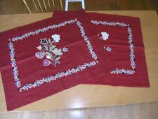 2 Huge Antique Persian Rasht Embroidery Applique Textile Cushions panels Mint