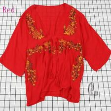 AU SELLER BOHO Cotton Embroidery Tunic Kaftan Top/Beach Kimono Cover Up sw065