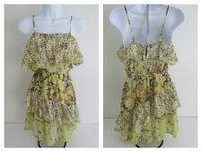 Joie Womens 100% Silk Sheer Ruffle Floral Sleeveless Dress Sundress Cute Size S