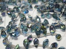 Iridescent Blue crystal AB Briolettes. Faceted teardrop. 6x12mm glittering Beads