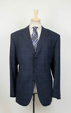 New BRIONI Brunico 21 Blue Plaid Wool 3 Roll 2 Button Sport Coat 62/52 R $4695