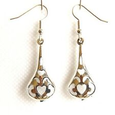SMALL SILVER PLATED DROP EARRINGS, NICKEL FREE CELTIC TEARDROP DESIGN.