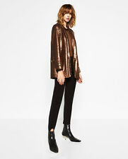 ZARA BLAZER /JACKET/COAT  WITH COPPER SEQUINS METALLIC A/W2016 BNWT SIZE S