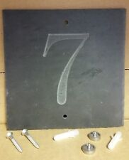 '7'  Slate House Number Door Plaque Sign With Capped Screws