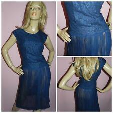 VINTAGE 50s 60s NAVY BLUE LACE SHEER CHIFFON COCKTAIL DRESS 12-14 1950s 1960s