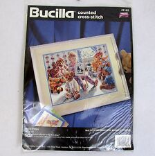 Bucilla Poo's Story Cross Stitch Kit 41182 Child Reading Teddy Bears 11x15