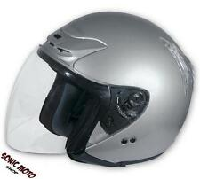 Open Face Motorbike Motorcycle Scooter Crash Men's Jet Helmet Visor Silver XS