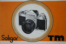 SOLIGOR TM film camera  Instruction Manual Book in English