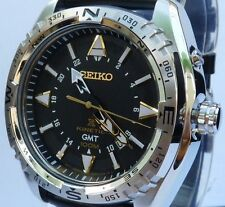 SEIKO PROSPEX BRAND NEW MEN'S LEATHER KINETIC GMT WATCH. SUN053P1