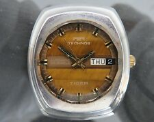 100% Authentic TECHNOS TIGER Automatic Men's Wrist Watch 25J Cal.2830 Swiss Made