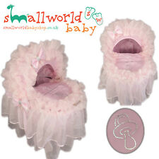 Personalised Pink Frilly Bling Wicker Basket On Wheels Cover (NEXT DAY DISPATCH)