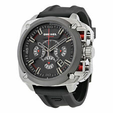 NEW MENS DIESEL (DZ7356) BAMF BLACK RUBBER STRAP SILVER WATCH