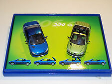 1/43 Norev Street Peugeot 206CC 2 Car Set in Green and Blue