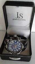 Joshua Sons JS50BK Mens Swiss Chronograph Blue and Black Watch new
