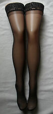 QUALITY SILKY BLACK SHEER WIDE LACE TOP HOLD UP STOCKINGS SILICON LYCRA GLASS