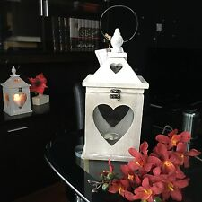 RUSTIC WOOD HANGING HEART LANTERN WEDDING CANDLE HOLDER WOODEN CANDLE LANTERN