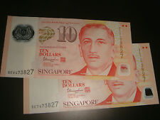 Singapore $10 Portrait Polymer (sign. Tharman) Same Number 473827, 2 pieces UNC