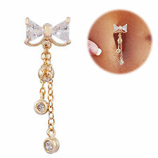 Reverse Belly Button Ring Dangle Body Navel Bar Clear Bow Jewelry Piercing