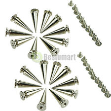 20pc 26mm Silver Spots Cone Screw Metal Studs Leather Craft Rivet Bullet Spikes