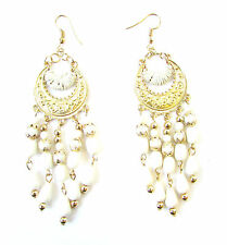 White & Gold Drop Bead Earrings 1920s Flapper Great Gatsby Chandelier Vtg 1058