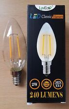 10 x 2w LED Clear Candle Filament Light Bulbs Lamp SES Small Screw In E14 25w