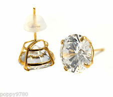 New Stud Earrings Solid 14k Real Yellow Gold and Round Cubic Zirconia  CZ 8mm