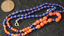 Vintage Necklace handmade  coral beads,lapis 14k gold space beads & clasp