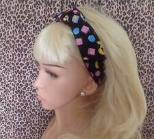 BLACK LIQUORICE ALLSORT NOVELTY BENDY WIRE HAIR WRAP WIRED HEADBAND HANDMADE