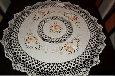 Cottage style Round vintage cream tablecloth, floral pattern linen like cotton