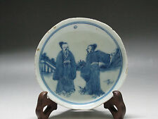 Chinese Blue and white Old porcelain figure piece Saucer small dish Kangxi mark