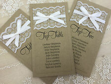 Vintage/Rustic/Shabby Chic Wedding Table Seating Plan Cards with lace/ribbon