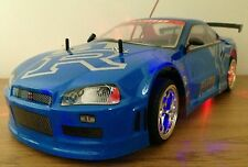 NISSAN GTR SKYLINE RECHARGEABLE Radio Remote Control Car  20MPH - BLUE / GREY