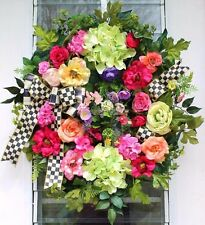 ROMANTIC COUNTRY GARDEN~MACKENZIE-CHILDS RIBBON WREATH~SPRING SUMMER