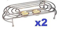 2X OVAL DOUBLE FOOD WARMER CHROME 2TEA LIGHT CANDLES CHAFING DISH RACK STAND UK