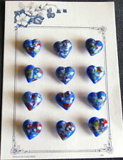 12 Czech Glass Antique (1920's) Buttons on Sign. Card #D195 - HEART- MILLEFIORI