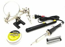 Soldering Tool Kit 60W Solder Iron, (2) Wire,Helping Hand,Flux Paste & Pump
