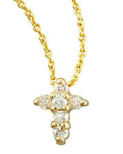 Authentic 18kt Yellow Gold/Diamond  Tiny Treasures Cross Necklace-Roberto Coin