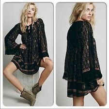 139398 New Free People Nomad Lace Printed Embroidered Cotton Tunic Dress XS