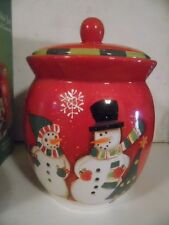Festive RED Crofton Holiday Cookie Jar with Mr. & Mrs. Snowman- New in box