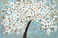 """""""White Cherry Blossom"""" by Jolina Anthony Painting Print on Wrapped Canvas"""