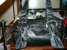 XOXO Large Sized Triple Strap Black Faux Leather Purse Hobo Handbag Satchel NEW